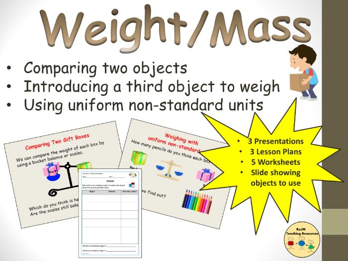 Measuring Weight Mass Uniform Non-Standard Units  Presentations Lesson Plans Worksheets