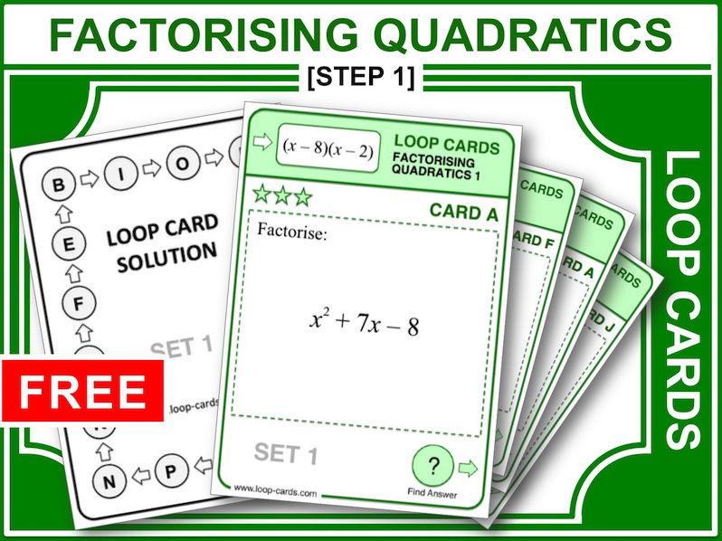 Factorising Quadratics 1 (Loop Cards)