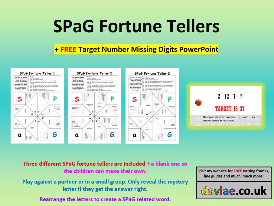 SPaG Fortune Tellers Game (+ FREE TARGET NUMBER MISSING DIGITS POWERPOINT)
