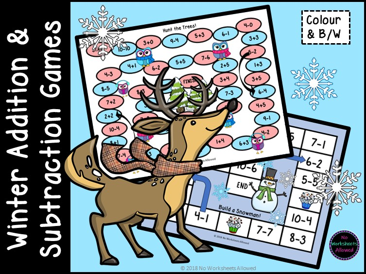 Addition Games and Subtraction Games with a Winter Theme