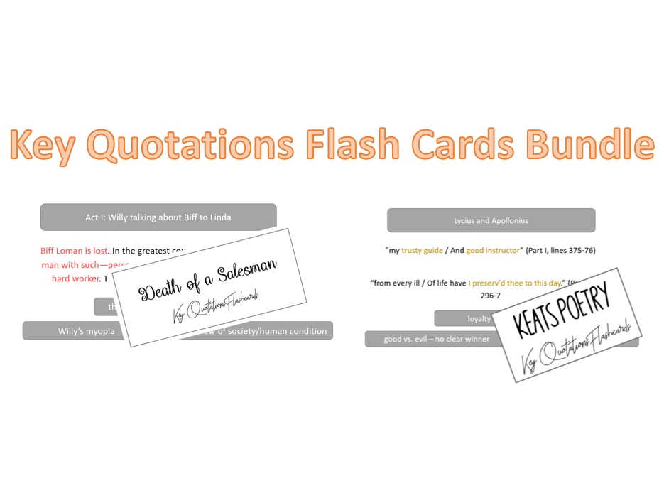 AQA A-Level Key Quotations Flash Cards Bundle (Keats AND Death of a Salesman)