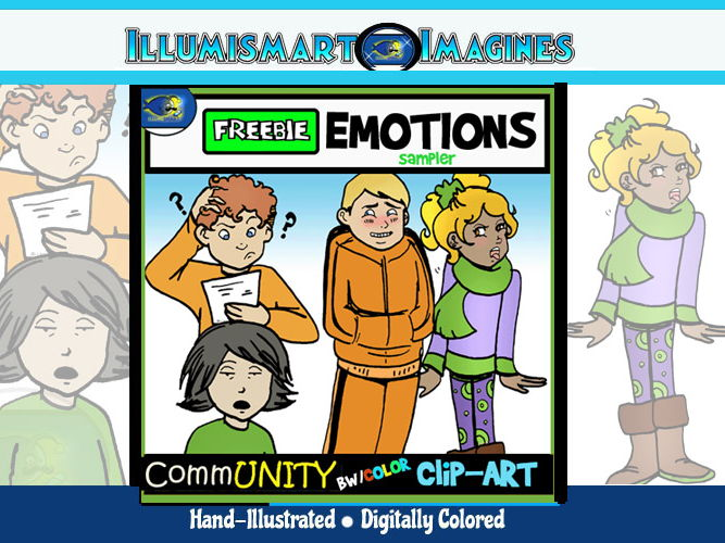 FREE Emotions CommUNITY Clip-Art FREEBIE Sampler 8 Pieces BW/Color