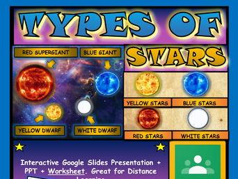 Types of Stars: Google Slides, Distance Learning + PPT+ Worksheet