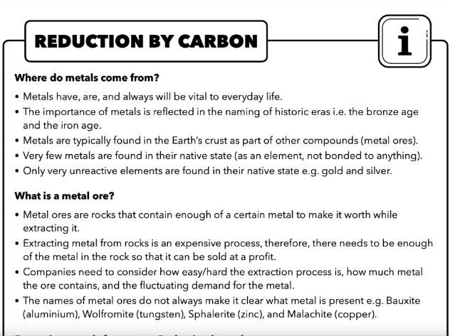 4.8 Reduction by carbon (Extracting Metals), AQA Chemistry