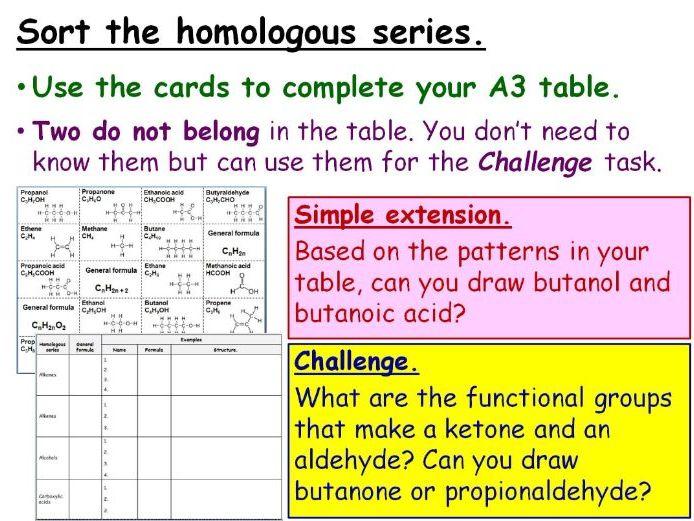 GCSE Chemistry Alkenes and Homologous Series Full Lesson (Edexcel 9-1 SC22a SC22b) TRIPLE Alkanes