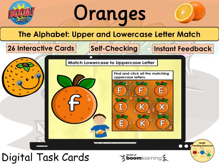 Letter Match Lowercase Uppercase Alphabet Oranges Visual Perception BOOM Cards™
