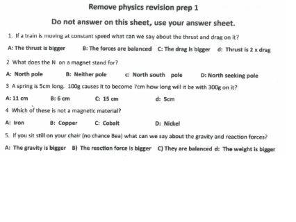multiple choice KS3 physics test