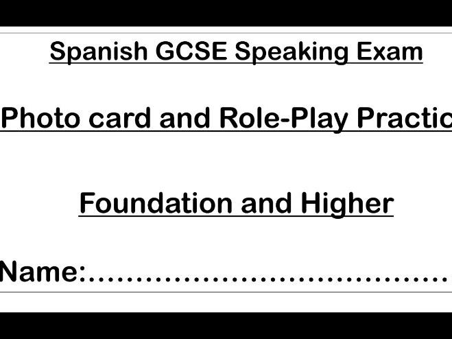 GCSE Spanish Role-Play and Photo Card Practice Booklet for AQA Speaking Tests