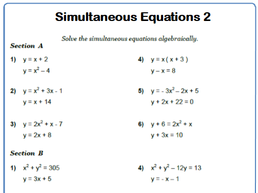 Simultaneous Equations 9-1 GCSE Maths Worksheets and Answers