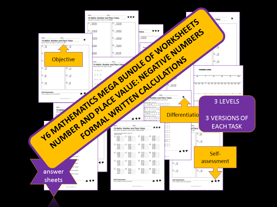 Y6 Mathematics: Number and Place Value.  Differentiated Worksheets