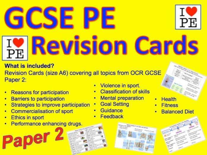 GCSE PE Revision Cards Paper 2