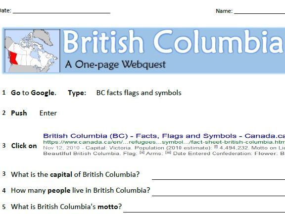 The Canadian Provinces - Webquests! (ESL/EAL/LINC)