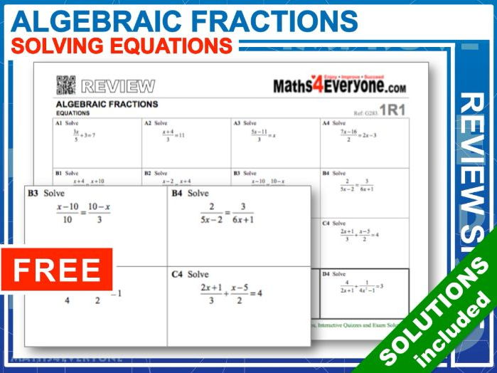 Algebraic Fractions, Solving Equations (GCSE 9-1 Summary)