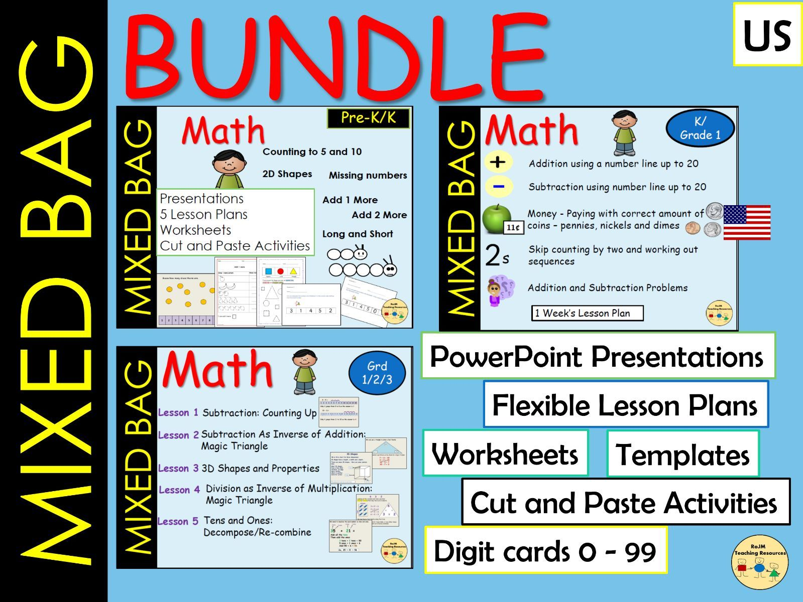 Mixed Math Bag Subtraction Addition Skip Count 2D/3D Shapes Money Counting On Place Value AND MORE BUNDLE