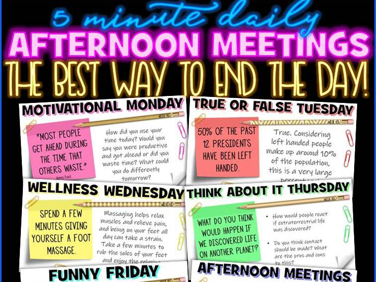 Tutor Time Daily Afternoon Meeting Messages Digital Activities [1 YEAR]