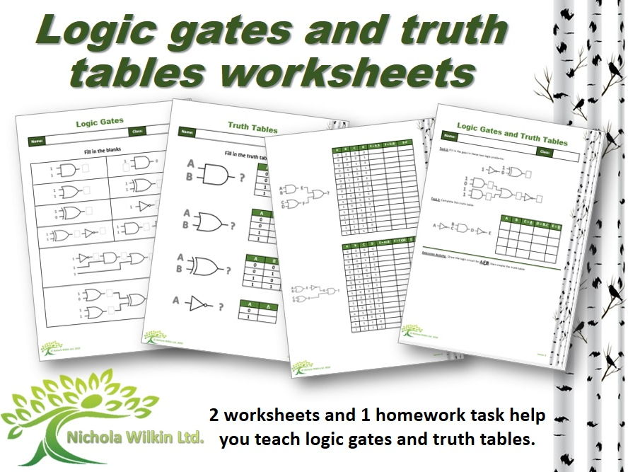 """Logic gates and truth tables"" worksheet pack"