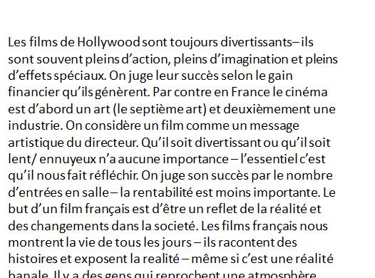 Le cinéma français et le cinéma de Hollywood - Find the French activity.