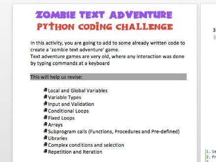 [GCSE+IGCSE] Python Text Adventure Coding Challenge