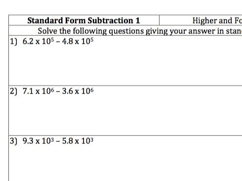 standard form questions  GCSE Maths - Standard Form Subtraction - 8 Questions and Worked Answers