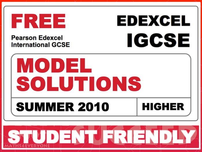 Exam Paper Solutions (IGCSE Summer 2010)