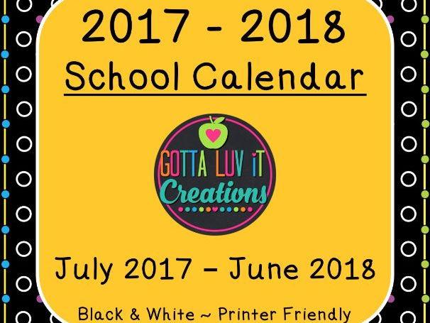 Back to School 2017-2018 School Calendar