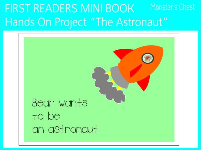 "Mini book ""Bear wants to be an astronaut"" for first readers."