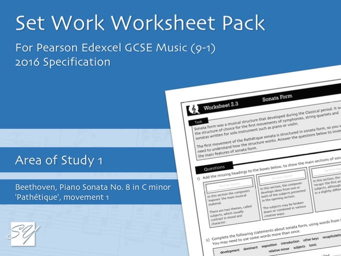 Worksheet Pack for Pearson Edexcel GCSE Music (2016 Specification) - Area of Study 1, Set Work 2
