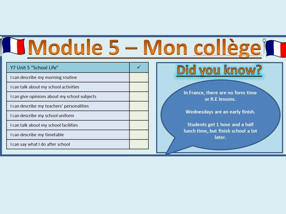 Mon collège - My school lesson bundle - y7 French