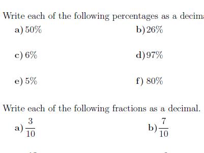 Percentages, fractions and decimals