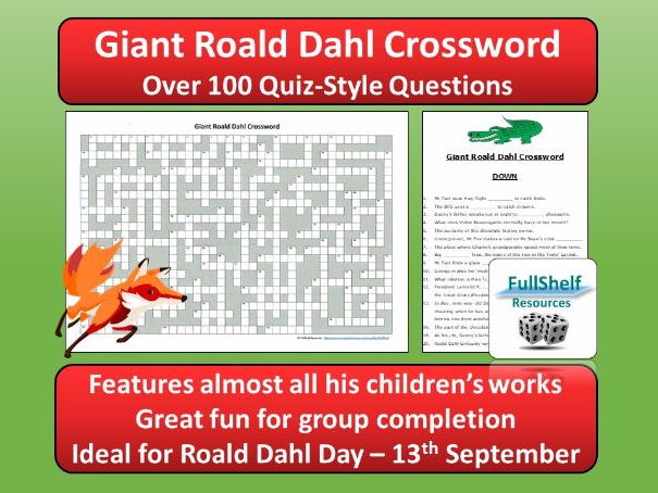 Roald Dahl Quiz Crossword (Roald Dahl Day)