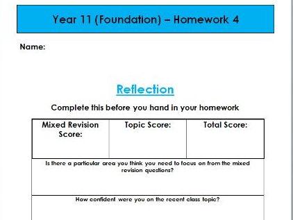 Expanding Brackets and Factorising - Edexcel KS3/KS4 Homework (Foundation)