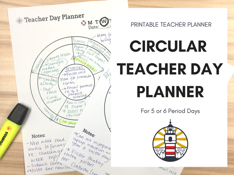 Circular Teacher Day Planner Printable
