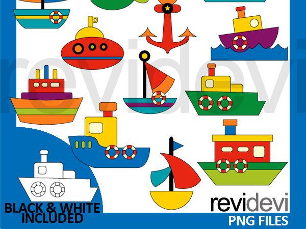 Water transportation clip art digital - boat, ship
