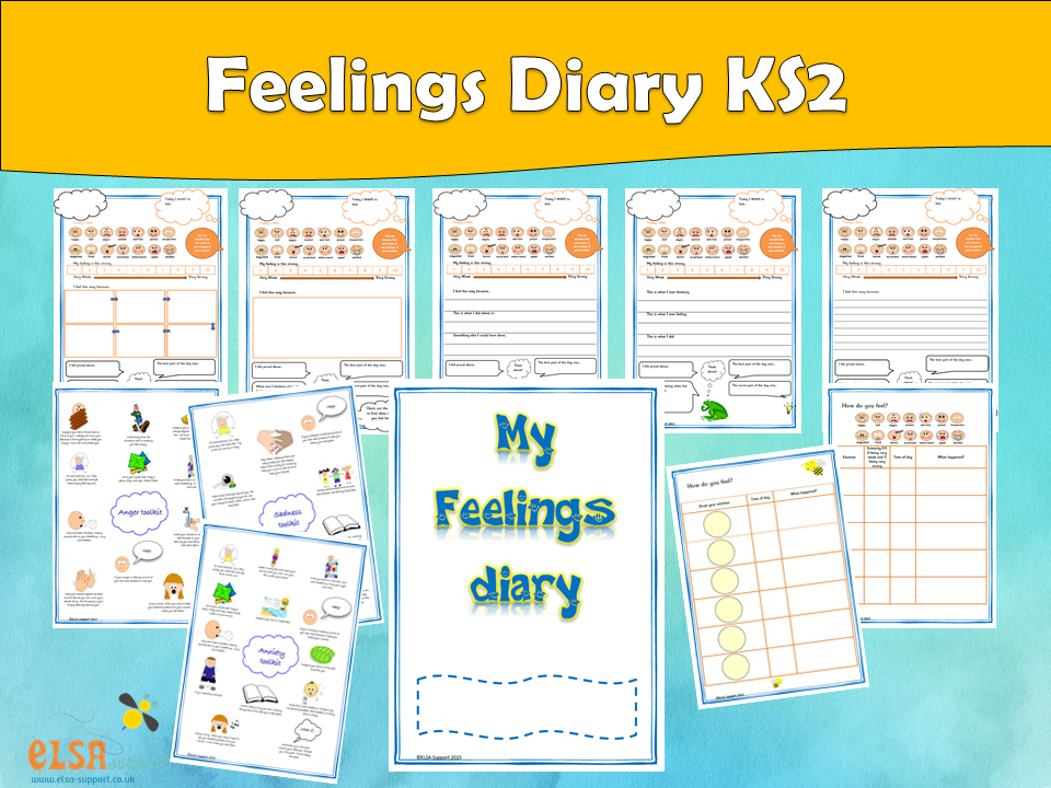 ELSA SUPPORT -Feelings diary KS2, EMOTIONS, FEELINGS, EMOTIONAL LITERACY, PSHE