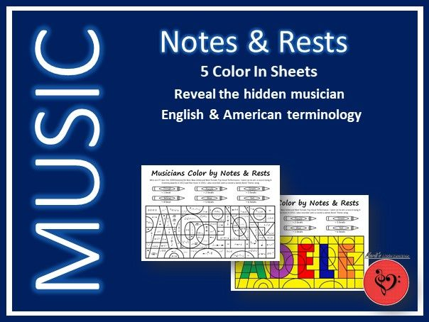 Color by Notes and Rests - 5 Print & Go Sheets - Bonus Research Task Sheets