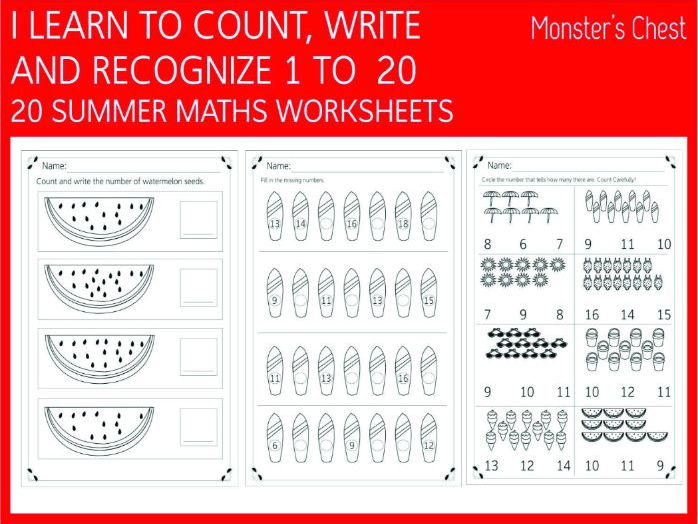 20 Maths worksheets (summer, 1-20)