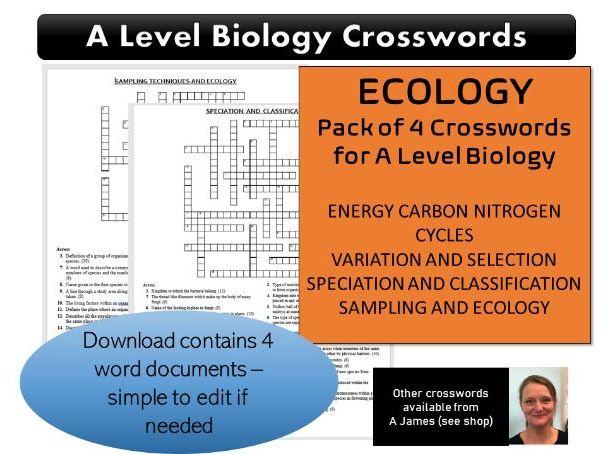 Ecology A Level Biology Crosswords