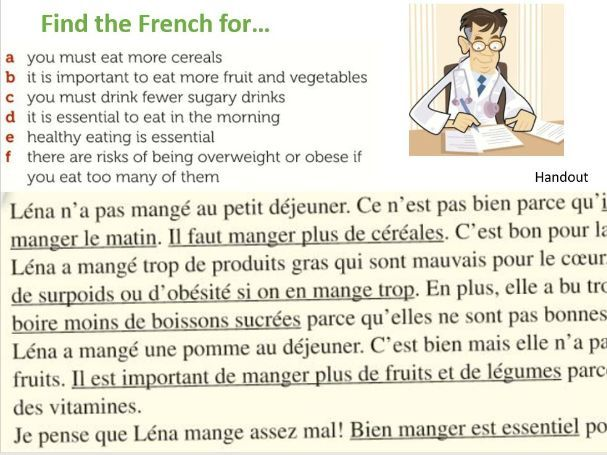 KS3 French Attention! Danger! Advice about healthy eating  food drink