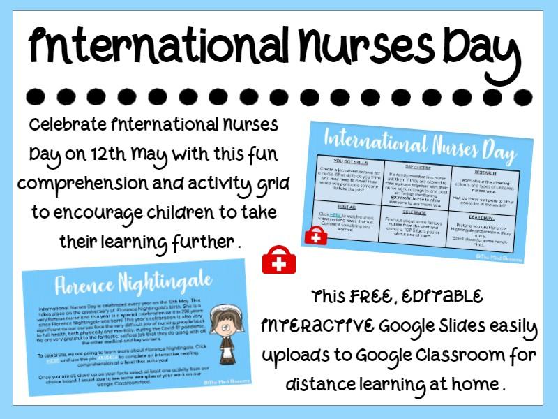 International Nurses Day Home Learning Board