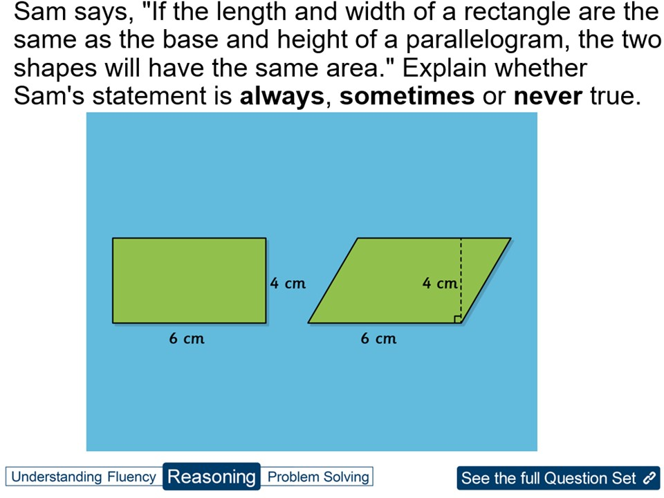Year 6 Calculate the Area of  Parallelograms