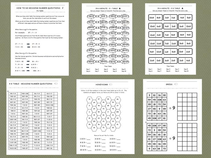 Nine Times Table - Comprehensive Workbook
