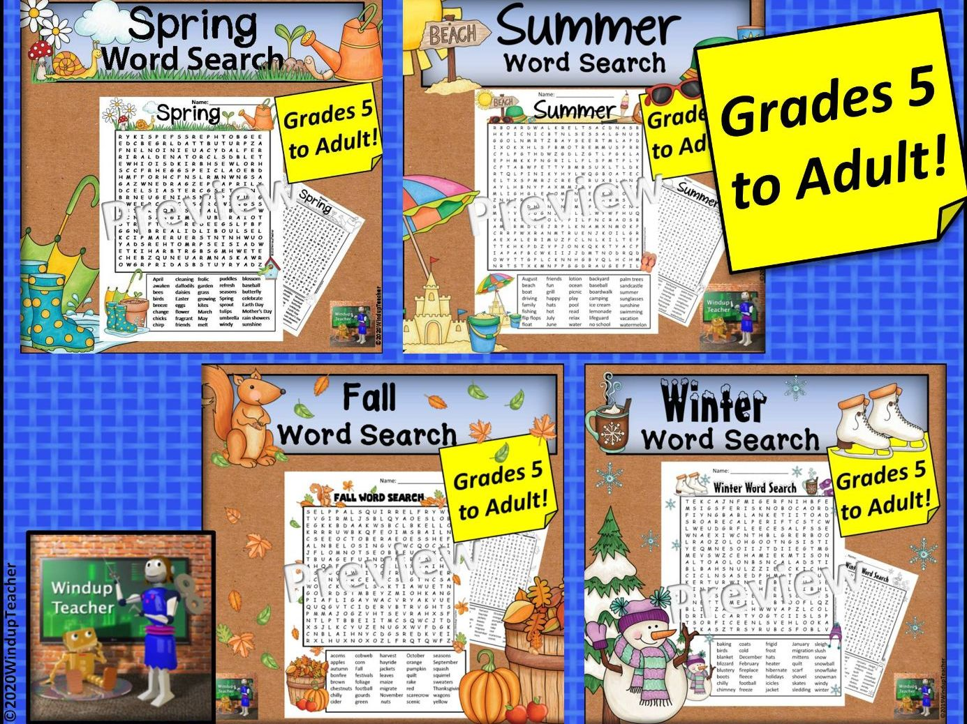 Four Seasons Hard Word Search BUNDLE