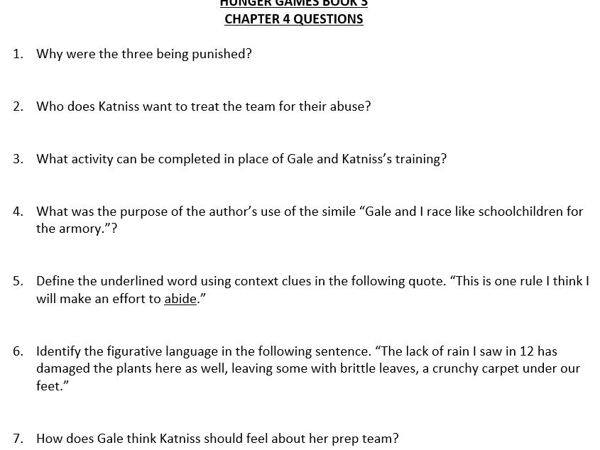 Hunger Games Bk 3 - Mockingjay Short Answer Questions