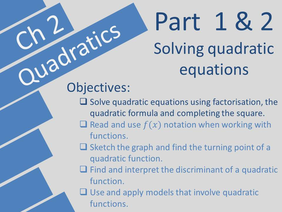 Quadratics Edexcel A-level Year 1/AS Pearson Ch 2 by domgosli ...