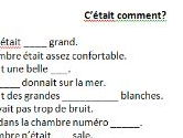 French gap-fill task describing hotel accommodation in imperfect tense