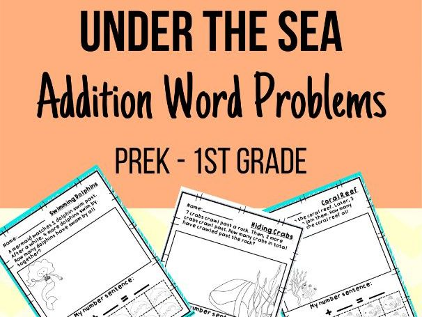 Under the Sea Addition Word Problems 0-10