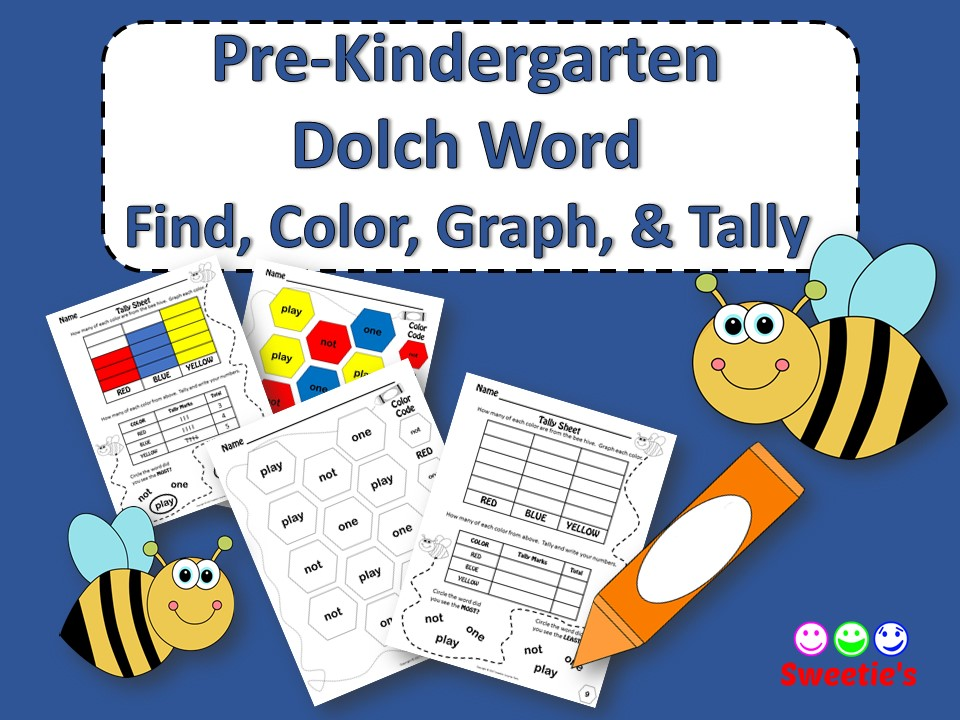 Dolch Pre-Kindergarten Sight Words - Find, Color, Graph, and Tally - Bee Theme