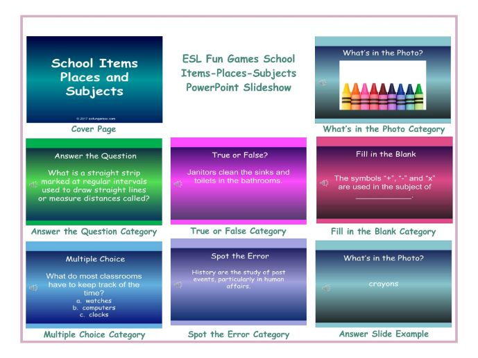 School Items-Places-Subjects PowerPoint Slideshow