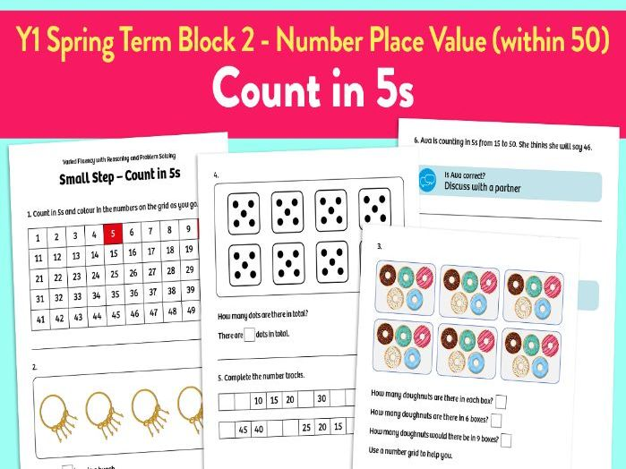 Count in 5s activities: Y1 Spring Term, Block 2 – Number: Place Value (within 50)