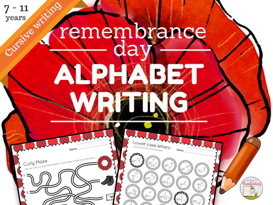 Remembrance Day themed: Cursive alphabet + number handwriting worksheets for 7 to 11 yrs, KS1 & KS2